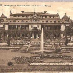 CPI (B2495) GERMANIA, FRANKFURT a. M. PALMENGARTEN BLUMENPARTERRE mit GESELLSCHAFTSHAUS, EDITURA GERHARD BLUMLEIN, CIRCULATA 1912, STAMPILE, TIMBRE, Europa, Printata