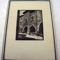 Frumoasa gravura semnata indescifrabil - Tablou autor neidentificat