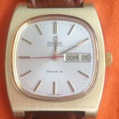 Ceas de mana Omega Geneve. Automatic. Placat cu aur. Elegant. Pozele sunt reale. - Ceas barbatesc Omega, Lux - elegant, Mecanic-Automatic, Piele, Calendar perpetuu