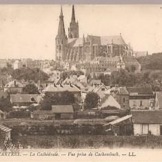 CPI (B2516) FRANTA. CHARTRES. LA CATHEDRALE - VUE PRISE DE CACHEMBACK, CIRCULATA 18.8. 1920, STAMPILE, NOTRE DAME, Europa, Printata