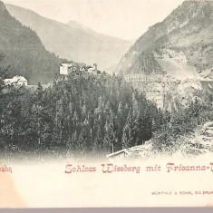 CPI (B2513) AUSTRIA, ARLBERGBAHN, SCHLOSS WIESBERG mit FRISANNA - VIADUCT, EDITURA WURTHLE a SOHN, SALZBURG, CIRCULATA 20.IUL. 1910, STAMPILAE, TIMBRU, Europa, Printata