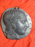 Panoplie moneda grecia antica,PANOPLIE DECORATIVA DE PERETE,TABLOU DIN LUT ROSU VECHI,MONEDA ANTICA