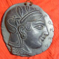 Panoplie moneda grecia antica, PANOPLIE DECORATIVA DE PERETE, TABLOU DIN LUT ROSU VECHI, MONEDA ANTICA