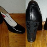Pantofi din piele - NOI - Pantof dama, Culoare: Negru, Marime: 36