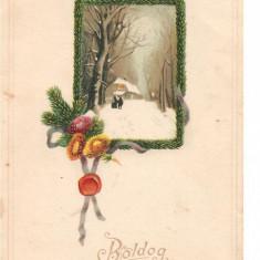 CPI (B2560) UNGARIA. FELICITARE DE IARNA, BOLDOG KARACSONYI UNNEPEKET, CIRCULATA 1917, STAMPILE, TIMBRU, Europa, Printata