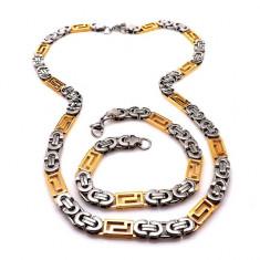 Set lant+bratar model VERSACE Meandros Placat cu Aur - Lantisor placate cu aur