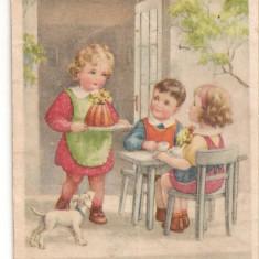 CPI (B2562) FELICITARE, TREI COPII, CIRCULATA 1949, STAMPILA, Europa, Printata