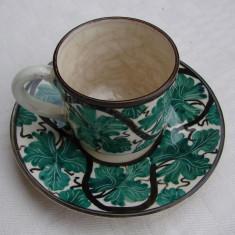 Ceasca cu farfurioara din ceramica emailata Cipru - Arta Ceramica