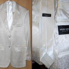 Costum de mire/nunta/banchet MORENO CAPELLI Milano. CALITATE! Set COMPLET: camasa, cravata, butoni, curea, pantofi - Costum mire