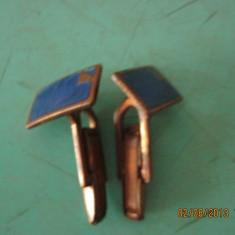 Butoni vechi, vintage, cu email albastru