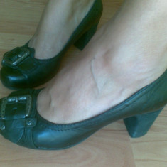 Pantofi din piele marimea 38, aproape noi! - Pantof dama, Culoare: Negru, Negru