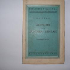 GH. PANU - AMINTIRI DE LA JUNIMEA DIN IASI {1935}, RF - Eseu