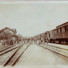 Dej, gara, 1906, animata, tren militar, ofiteri, multa populatie, FOARTE RARA