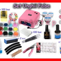 Kit Unghii False contine Lampa UV Gel UV Primer Finis Sclipici Tipsuri si altele - UNGHII FALSE SET 24, Sina