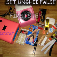 Set Unghii false Sina contine Lampa UV, Freza, Aspirator, Sclipici, Tipsuri, Gel UV, Primer, Top Coat