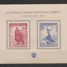 Cehoslovacia.1952 Expozitia filatelica BRATISLAVA-Bl. SC.358 - Timbre straine