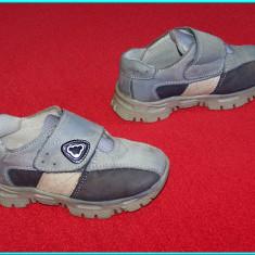 Pantofi din piele, culoarea gri _ baieti | nr. 25 - Adidasi copii, Piele naturala