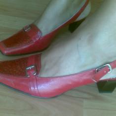 Pantofi din piele marimea 38, sunt noi! - Pantof dama Gabor, Culoare: Rosu, Marime: 38.5, Rosu, Cu talpa joasa