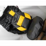 Husa auto negru cu galben imitatie piele