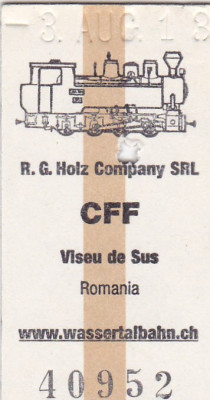 Bilet tren ( Mocanita jud MM) CFF , Viseu de Sus foto