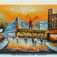 Tablou living, dormitor - Parisul vechi, vedere Moulin Rouge - ulei in cutit 120x90cm - LIVRARE GRATUITA IN 24-48h