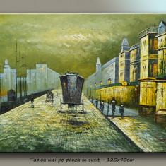 Tablou living, dormitor - Parisul vechi, scena stradala (4) - ulei in cutit 120x90cm - LIVRARE GRATUITA IN 24-48h