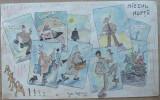 Tehnica mixta ; Caricatura de Rascu Gelu , pictor consacrat din Campulung Moldovenesc , Bucovina , originar din Chisinau , Basarabia