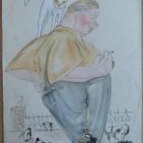 Tehnica mixta ; Caricatura de Rascu Gelu, pictor consacrat din Campulung Moldovenesc, Bucovina, originar din Chisinau, Basarabia, 1 - Pictor strain