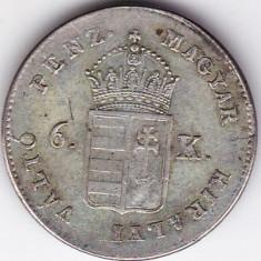 Transilvania Ungaria Austria 6 Krajczar-Kreuzer 1849 NB (Baia Mare), XF+, MONEDA DE COLECTIE, RARA