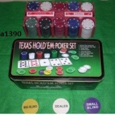 Set Poker Texas Hold ' Em 200 jetoane inscriptionate + doua pachete carti