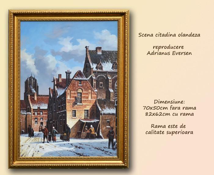 Tablou Scena citadina olandeza (1)  cu rama - Reproducere Adrianus Eversen (70x50cm) - LIVRARE GRATUITA 24-48h - PRET NEGOCIABIL foto mare