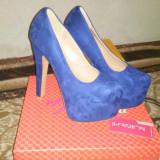 Pantofi albastrii - super platforma !!! - Pantof dama, Culoare: Albastru, Marime: 37, Albastru