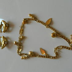 Set de bijuterii/gabonturi pentru dama/femei/doamne cercei cu clips si bratara mana
