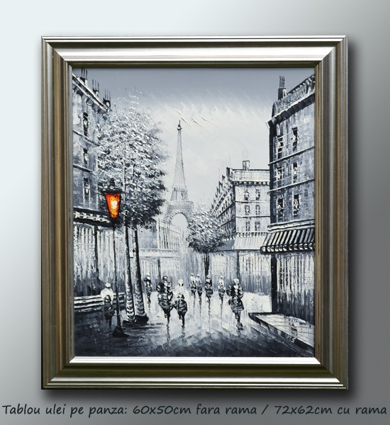 Tablou Paris in alb/negru (1) - tablou ulei pe panza cu rama (60x50cm) - LIVRARE GRATUITA 24-48h foto mare
