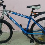 Bicicleta first bike full shimano deore - Mountain Bike First Bike, 18 inch, 26 inch, Numar viteze: 27, Aluminiu, Gri mat-Albastru
