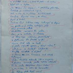 Taietorul de lemne ; Poezie ; Manuscris olograf al lui Romulus Vulpescu, 3 foi, semnat si datat 1 Ianuarie 1961 - Pliant Meniu Reclama tiparita