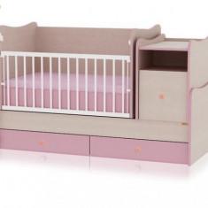 Vand urgent patut copii Transformer cu sertare si legănare silence - Patut lemn pentru bebelusi Bebe Confort, Altele, 160X70cm, Roz