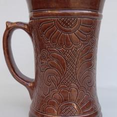 AuX: Halba de bere, veche, confectionata din ceramica cu motive florale - Korond!