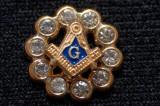PIN MASONIC echer compas inconjurat de cristale swarowski