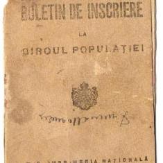 BULETIN DE INSCRIERE LA BIROUL POPULATIEI - Pasaport/Document