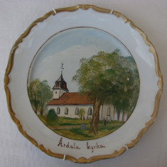 Superba farfurie din portelan suedez pictata manual, Farfurii