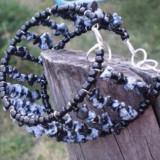 Bratara si colier cu pietre semipretioase obsidian fulg-de-nea