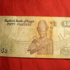 Bancnota 50 Piastri Egipt, cal.Buna - bancnota africa