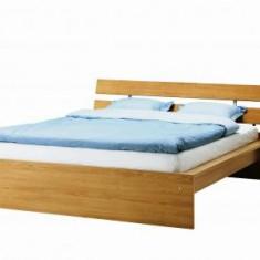 Vand pat Ikea MALM 180 X 200, impreuna cu salteaua Sultan si 2 lazi de depozitare. Stare foarte buna. - Pat dormitor, Dublu, Stejar, Pat de mijloc