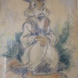 Schita unicat pentru carte de basme Demetrescu Ion (Dem) - Pictor roman, Animale