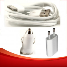 Incarcator 3 in 1 priza + auto + cablu USB Apple iPhone 3G 3GS 4 4S iPod - Incarcator telefon iPhone, De priza si masina