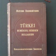 Romania, Turica, Bulgaria, Serbia - Ghid Meyers 1902 / harti vechi de mari dimensiuni, gravuri color, hartie velina de calitate - Raritate