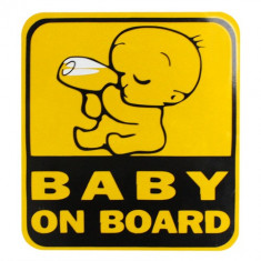 "sticker auto  ""BABY ON BOARD""Safe warning  13 / 12 cm colant"