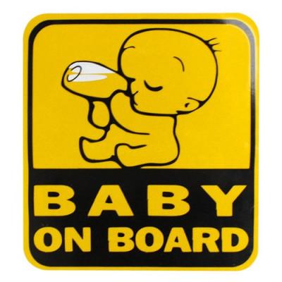 "sticker auto  ""BABY ON BOARD""Safe warning  13 / 12 cm colant foto"