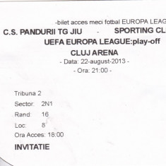 Bilet Meci ( Invitatie) Europa League C.S. Pandurii Tg. Jiu - Sporting Club Braga 22  AUGUST 2013